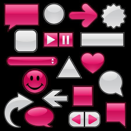 Colección de brillante, brillante web botones y los iconos, de frambuesa y plumas mojadas blanco, añadir el texto o los símbolos! Foto de archivo - 4451419