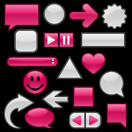 Collection of glossy, glowing web buttons and icons, in wet raspberry and feathery white; add your text or symbols! Stock Vector - 4451419