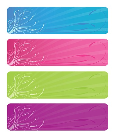 Four floral web banners in bright colors: aqua, hot pink, lime green, and grape; vector file contains clipping path.