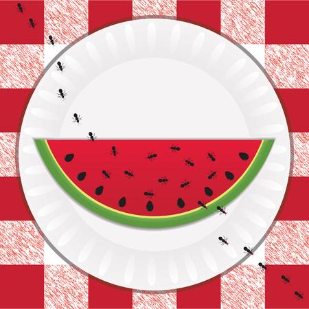 Pad van zwarte mieren nemen bites van een zoete, juicy segment van watermelon op een picknick Stockfoto - 4651561