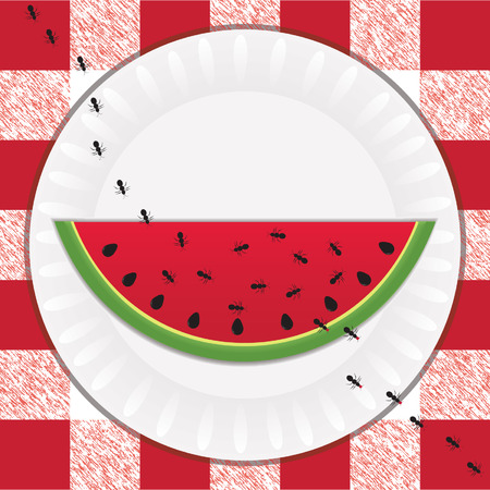 Trail of black ants taking bites out of a sweet, juicy slice of watermelon at a picnic