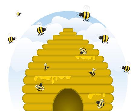 Skep stile, stillicidio d'oro con il miele, miele con le api occupato di varie dimensioni di lavoro. (Vector file contiene miscele; non espanse per un facile montaggio.) Archivio Fotografico - 4651559