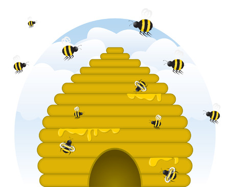 Skep-style, golden beehive dripping with honey, with busy honey bees of various sizes working. (Vector file contains blends; unexpanded for easy editing.)