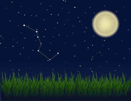 below: Big Dipper depicted among the stars in a clear night sky, with a glowing moon casting light on a field of grass below. Illustration