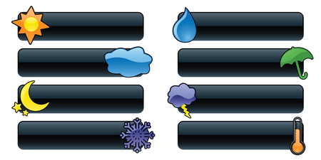 Eight glossy weather bannersbuttons, perfect for rain or shine! Vector