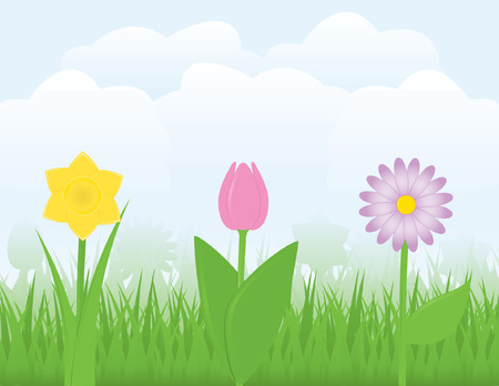 springtime: Three flowers in a springtime scene, surrounded by grass and clouds in a blue sky Illustration
