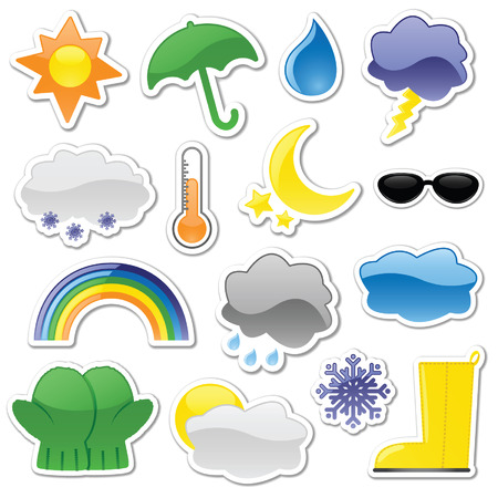 Glossy weather stickers, including rain boot and partly cloudy stickers. Vector file contains blends, unexpanded for easy editing. Illustration