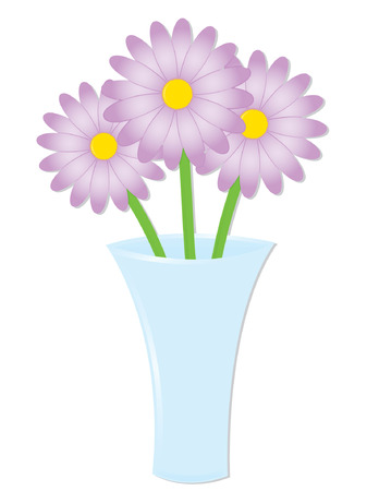 Three daisies in a glass vase, perfect for springtime projects Иллюстрация
