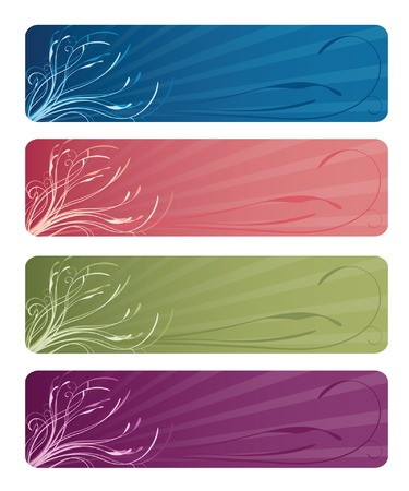 Four floral web banners in deep ocean blue, rosy pink, mossy green, and plummy purple; vector file contains clipping path.