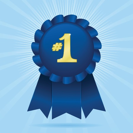 Blue ribbon with #1 in sparkling gold; vector file contains unexpanded blends and clipping path. Stock Illustratie