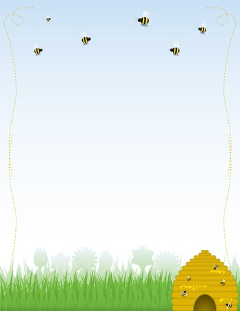 Background or stationery with skep-style, golden beehive dripping with honey, with bees of various sizes working and flying above. Vector file contains unexpanded blends and clipping path.