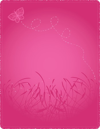 Glittering butterfly floating on a bright pink floral background