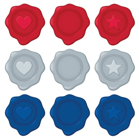 Collection of nine wax seals in red, silver, and blue, each color has one blank seal for your own symbol/design.