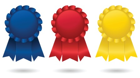 Three shiny, satin ribbons, representing first, second and third place; vector file contains unexpanded blends.