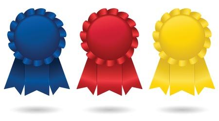 Tre lucido, nastri di raso, in rappresentanza di primo, secondo e terzo posto; vettore file contiene miscele non espanse. Archivio Fotografico - 4728973