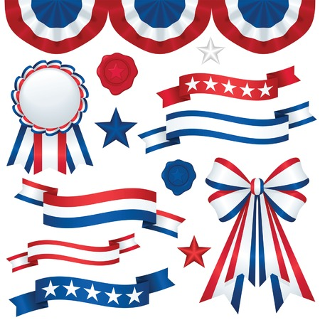 ribbon: Collection of patriotic emblems