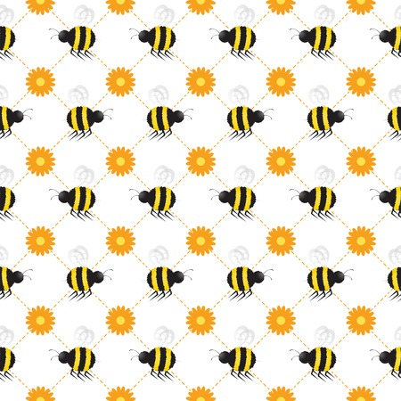 Buzzy bees flying across a seamless background, complete with daisies. Vector