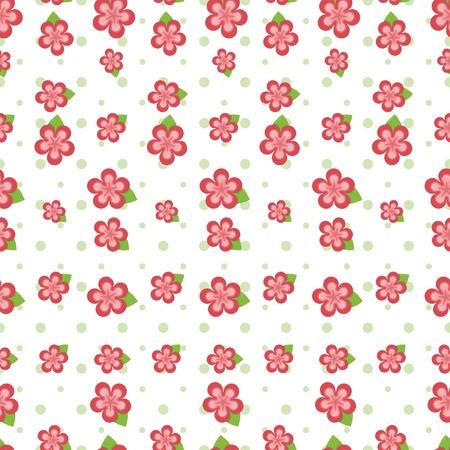 Cute flores de color rosa, en diversos tamaños y lunares verde dispuestos en un mosaico sin fisuras Ilustración de vector