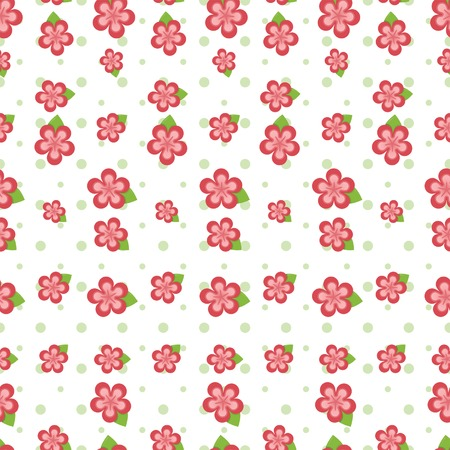 Cute pink flowers in various sizes and green polka dots arranged on a seamless tile Vector