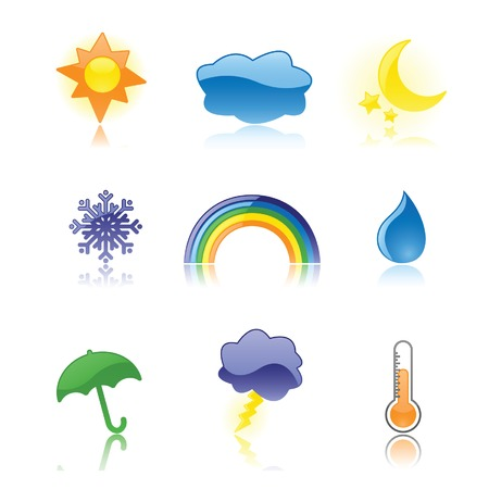 Nine glossy weather icons, reflected on a white background