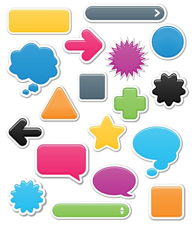 Collection of brightly colored, smooth web elements including: arrows, search bars, speech and thought bubbles; perfect for adding your own text or icons Illustration