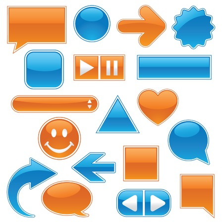 callout: Collection of glossy, glowing web buttons and icons, in bright blue and orange; includes buttons for your own text