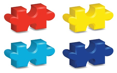 Four brightly colored, three-dimensional puzzle pieces, representing autism awareness. Vector file contains gradient mesh.
