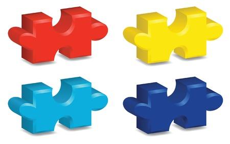 Quattro colori vivaci, tre pezzi di un puzzle tridimensionale, che rappresenta la consapevolezza autismo. File vettoriale contiene maglia gradiente. Archivio Fotografico - 4857141