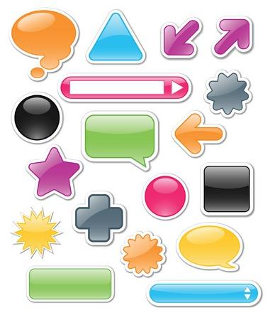 burbujas de pensamiento: Colecci�n de brillantes colores, brillante web de elementos que incluyen: flechas, barras de b�squeda, las burbujas de expresi�n y de pensamiento; perfecto para a�adir su propio texto o iconos.