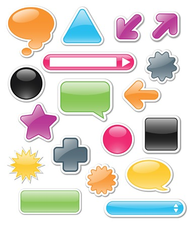 Collection of brightly colored, glossy web elements including: arrows, search bars, speech and thought bubbles; perfect for adding your own text or icons. Vector