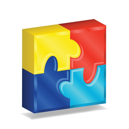 Four brightly colored puzzle pieces arranged in a three-dimensional square, representing autism awareness. Vector file contains gradient mesh.