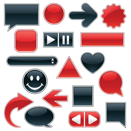 Collection of glossy, glowing web buttons and icons, in sleek red and shiny black; includes buttons for your own text