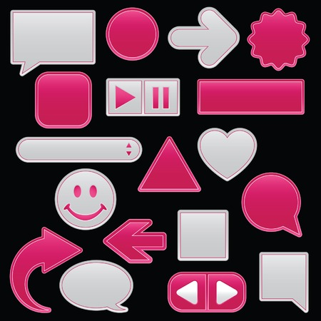 Collection of smooth, outlined web buttons and icons in raspberry smoothie and subtle white; add your own text or symbol(s). Vector
