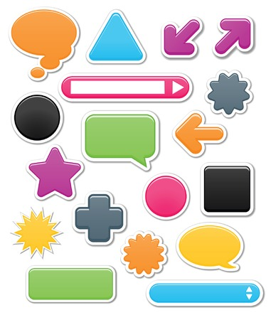 Collection of brightly colored, smooth web elements including: arrows, search bars, speech and thought bubbles. Perfect for adding your own text or icons; vector file contains blends