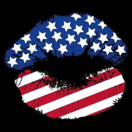 별과 줄무늬가있는 애국적인 입술 인쇄 일러스트