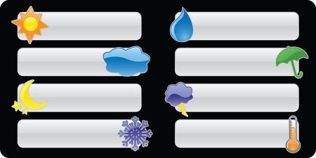 Eight glossy weather icons on white banners/buttons, perfect for rain or shine!