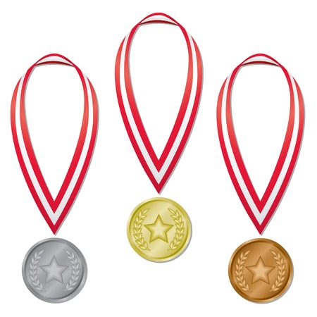Three sports competition medals in gold, silver, and bronze with red and white ribbons; contains expanded blends