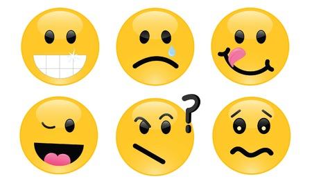 expression visage: Six smileys, chacune avec sa propre expression faciale Illustration