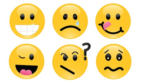 Six smileys, each with its own facial expression Vector