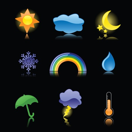 Nine glossy weather icons, reflected on black; perfect for rain or shine! Vector