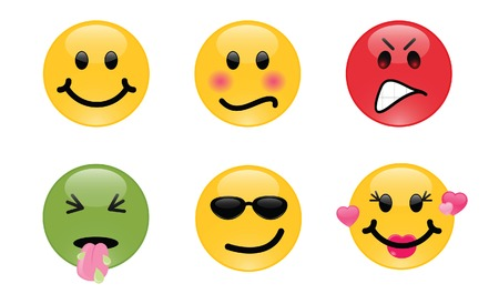 smileys: Six smileys, each with its own facial expression