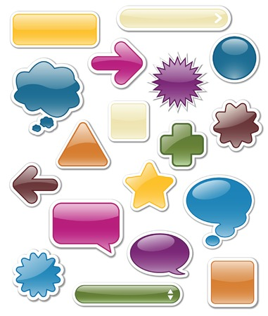 Collection of glossy web elements in jewel tones including: arrows, search bars, speech and thought bubbles.; vector file contains blends Vector