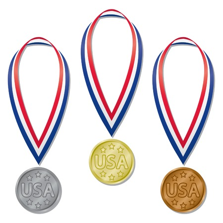 Three sports competition medals in gold, silver, and bronze with red, white, and blue ribbons; contains expanded blends Stock Illustratie