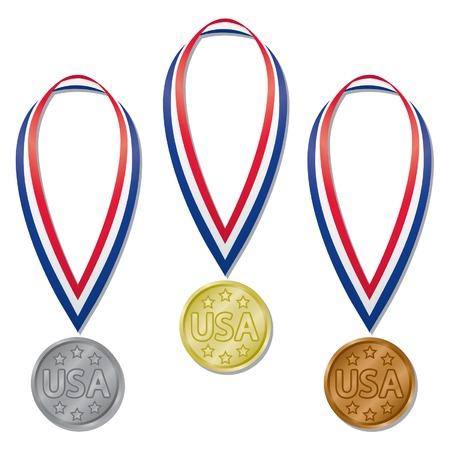 Tre medaglie olimpiche in oro, argento, bronzo e rosso, bianco, blu e nastri; contiene espanso miscele Archivio Fotografico - 4894503