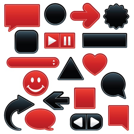 Collection of smooth, outlined web buttons and icons in luscious red and velvety black; add your own text or symbol(s). Vector
