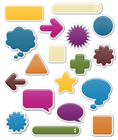 Collection of smooth web elements in jewel tones including: arrows, search bars, speech and thought bubbles. Perfect for adding your own text or icons; vector file contains blends