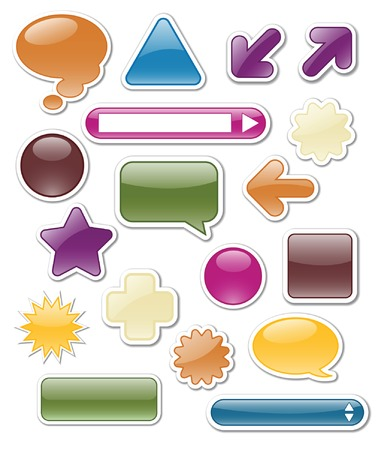 Collection of glossy web elements in jewel tones Stock Vector - 4959764