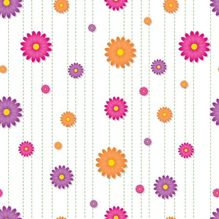 Seamless tile with brightly colored daisies arranged over green dashed stripes Illustration