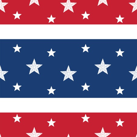 Patriotic seamless tile with white stars embroidered on a red, white and blue striped background; vector file contains path