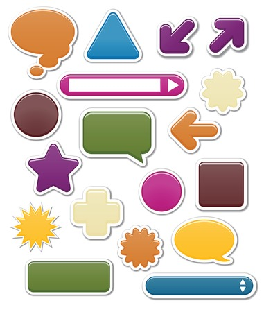 Collection of smooth web elements in jewel tones; vector file contains blends Vector